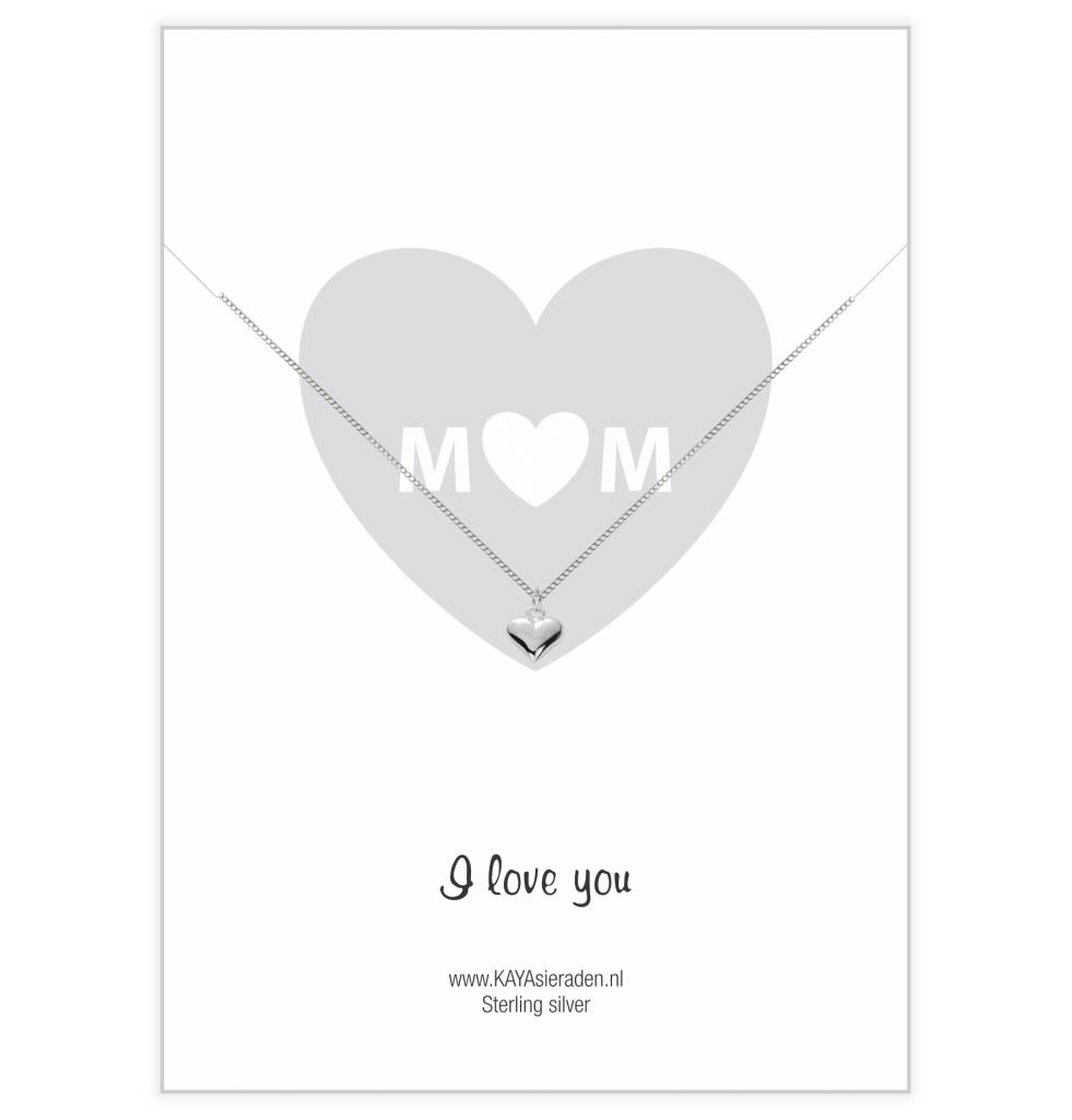 Kaya Sieraden Mom card I Love You with hearts SILVER necklace - free shipping NL