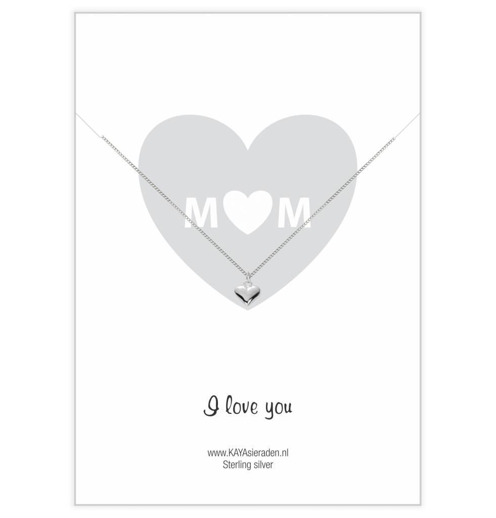 Kaya Sieraden wenskaart Mom I Love You met ZILVEREN hartjes ketting - gratis verzending NL