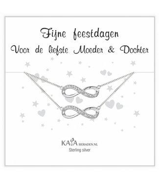 Kaya Sieraden Kadodoosje .925 Zilveren armbandjes 'Infinity' Moeder dochter