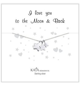Kaya Sieraden Cadeaudoosje .925 zilveren ketting 'I love you to the Moon & Back'
