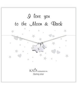 Kaya Sieraden Cadeaudoosje .925 zilveren ketting 'I love you to the Moon & Back'