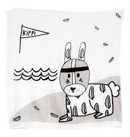 Kippins River Kippintale ™ muslin wrap and snooze blanket with Rabbit