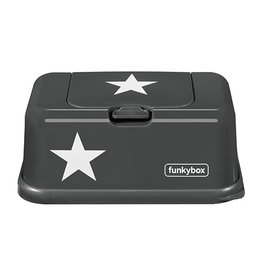 Funkybox wipes container Charcoal gray with star