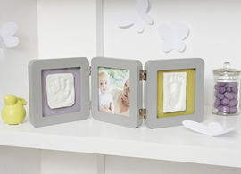 Baby Art double photo frame with plaster cast