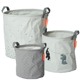 Done by Deer Soft storage baskets set van 3 grey