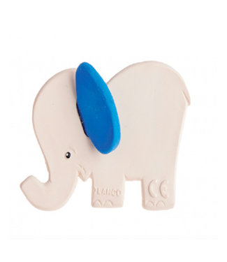 Rubber teething elephant with blue ears