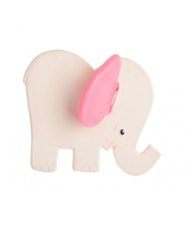 Rubberen bijtspeeltje olifant met roze oren