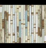 Piet Hein Eek Behang Piet Hein Eek - sloophout vaal mint - blauw - groen Wallpaper