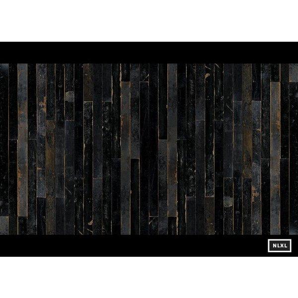 Behang Piet Hein Eek - sloophout donker grijs - blauw - zwart