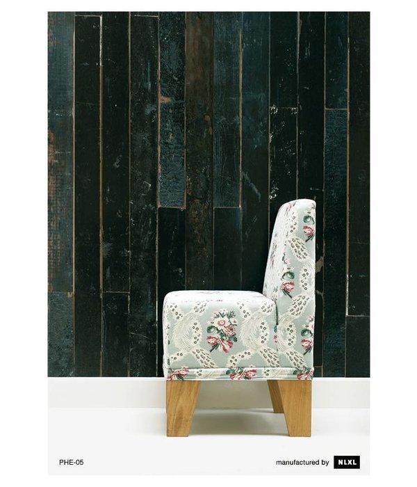 Piet Hein Eek Behang Piet Hein Eek - sloophout donker grijs - blauw - zwart Wallpaper