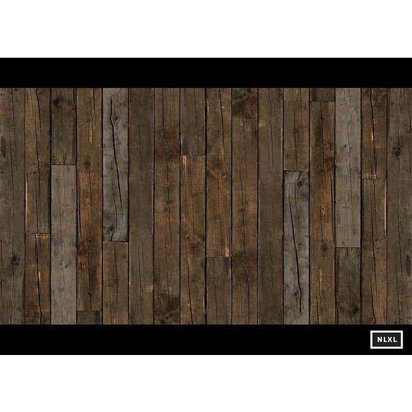 Behang Piet Hein Eek - brede planken donker bruin