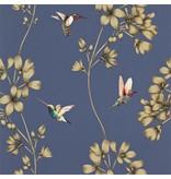 Harlequin Amazilia Indigo (Blauw, Goud) 111059 Behang