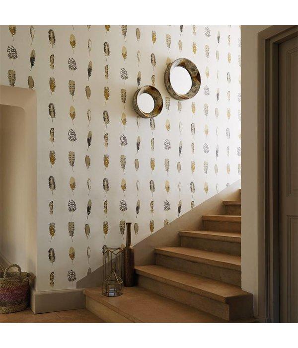 Harlequin Limosa Indigo, Mustard, Stone 111075 Wallpaper