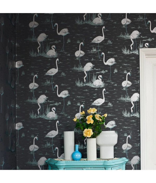 Cole-Son Flamingos DonkerGrijs 95/8048 Wallpaper