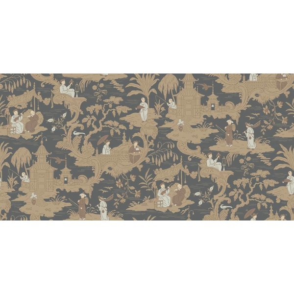 Chinese Toile Charcoal (Antraciet Grijs, Bruin) 100/8040