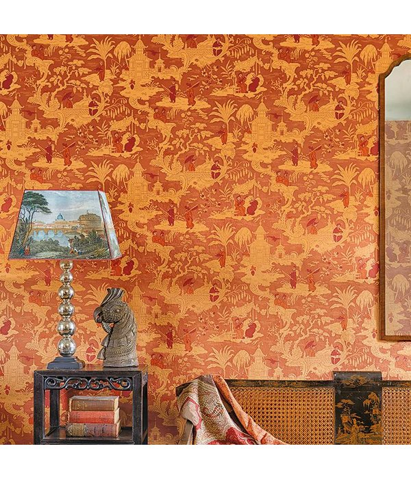 Cole-Son Chinese Toile Charcoal (Antraciet Grijs, Bruin) 100/8040 Wallpaper