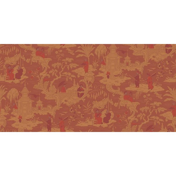 Chinese Toile Red (Rood, Oranje) 100/8041