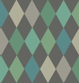 Cole-Son Punchinello Teal On Charcoal (Antraciet Grijs, Groen, Blauw, Lila) 103/2007 Wallpaper