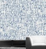 Tres-Tintas Behang Mil Caras blauw 19951 Behang