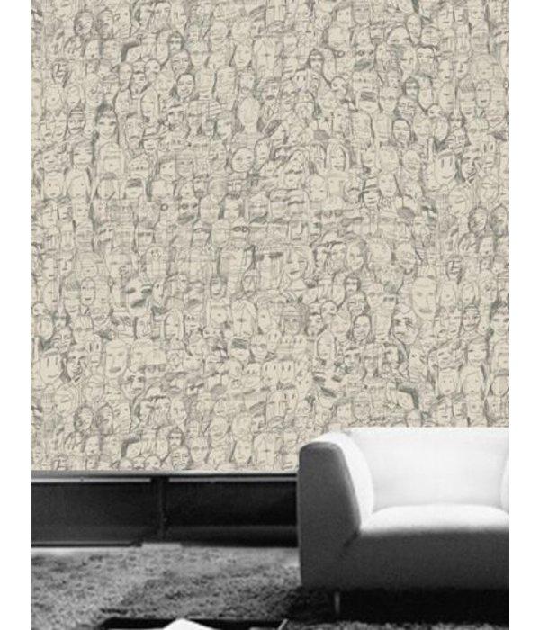 Tres-Tintas Behang Mil Caras donkergrijs Wallpaper