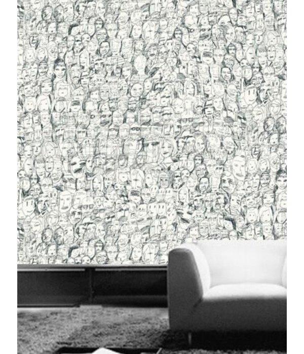 Tres-Tintas Behang Mil Caras rozerood Wallpaper