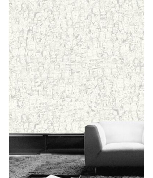 Tres-Tintas Behang Mil Caras wit zwart Wallpaper
