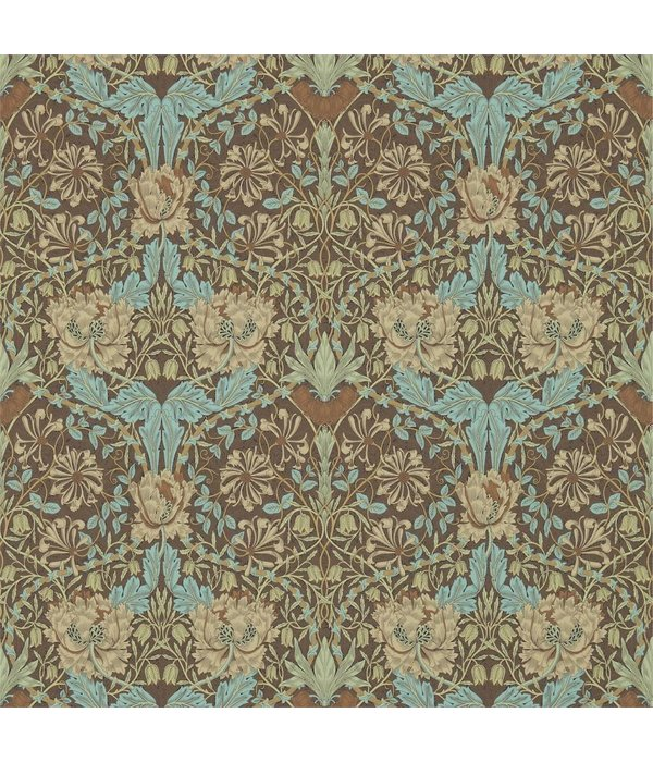 Morris-Co Honeysuckle & Tulip Taupe/Aqua 214702