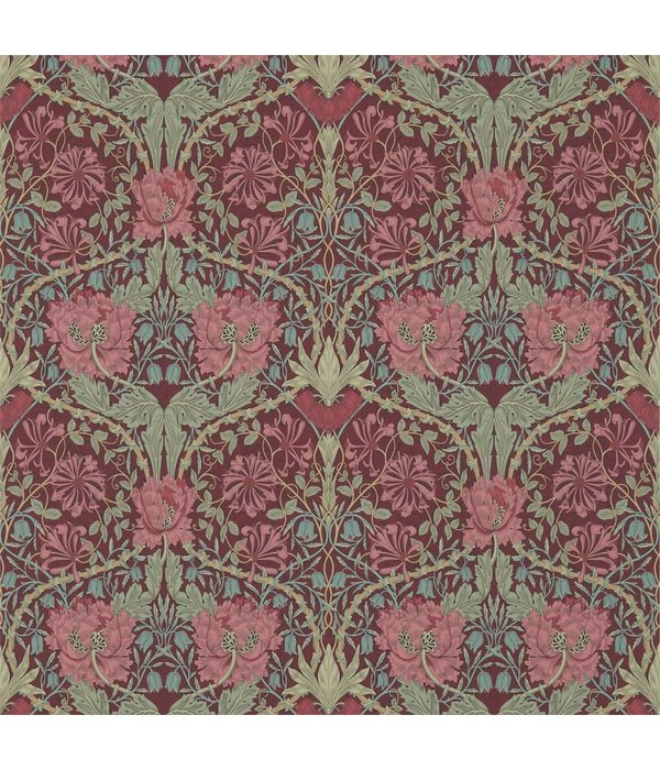 Morris-Co Honeysuckle & Tulip Burgundy/Sage 214703