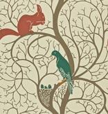 Sanderson Squirrel & Dove Teal/Red DVIWSQ102 Behang