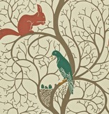Sanderson Squirrel & Dove Teal/Red Wallpaper