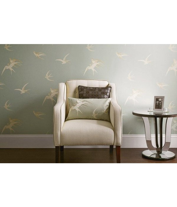 Sanderson Swallows Silver Wallpaper