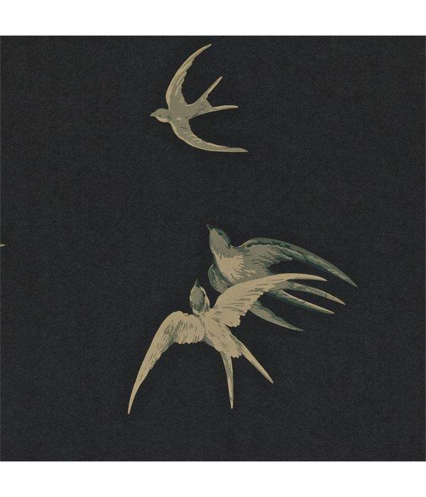 Sanderson Swallows Black Wallpaper