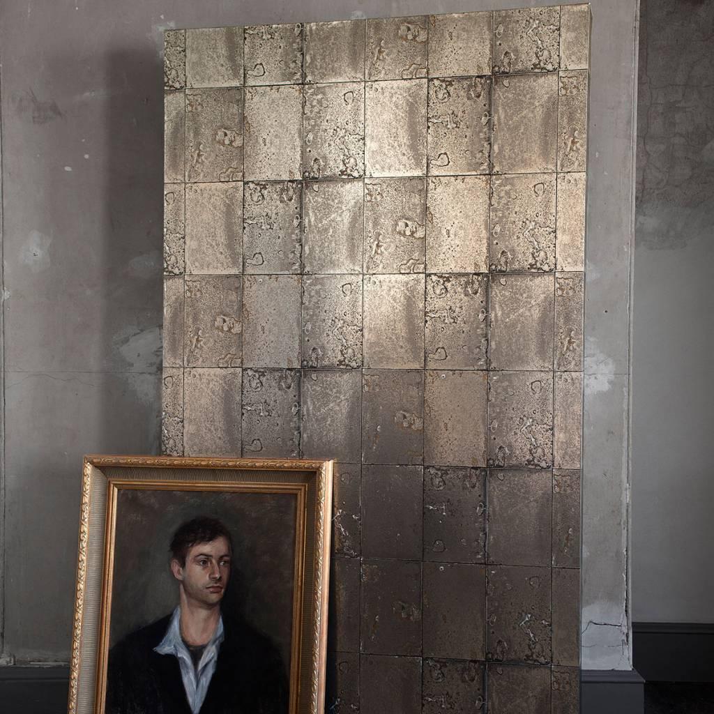Antique mirror metallic zilver en zwart 92/2008   de mooiste muren