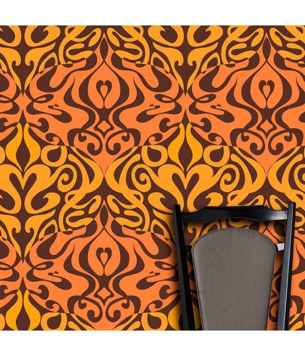 Cole-Son Woodstock Zwart, Oranje En Geel / Oranje 69/7126 Wallpaper
