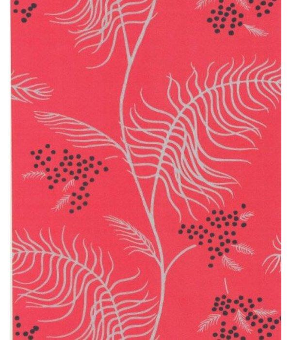 Cole-Son Mimosa Rood, Zilver En Zwart 69/8130 Wallpaper