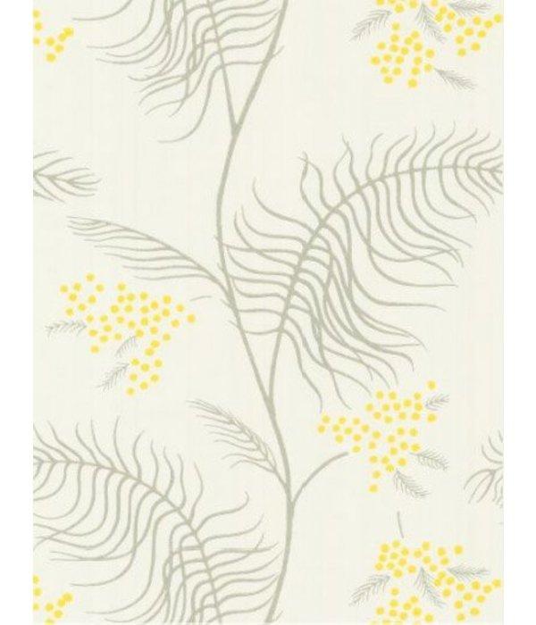 Mimosa wit grijs en geel 69 8132 de mooiste muren - Wit behang en grijs ...