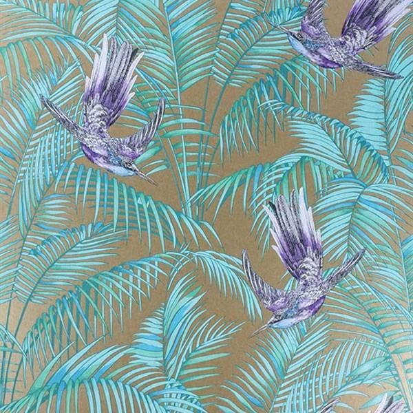 Sunbird bronze purple turquoise w654307 de mooiste muren - Quatre murs papier peint ...