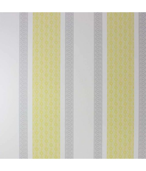 Osborne-Little Chantilly Stripe Primrose/Silver/Stone Wallpaper