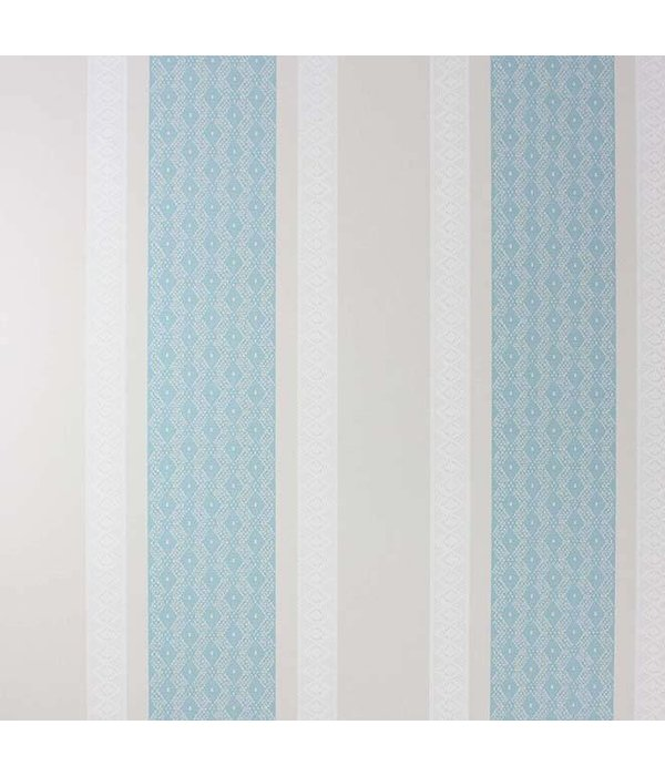 Osborne-Little Chantilly Stripe Duck Egg/White/Stone Wallpaper