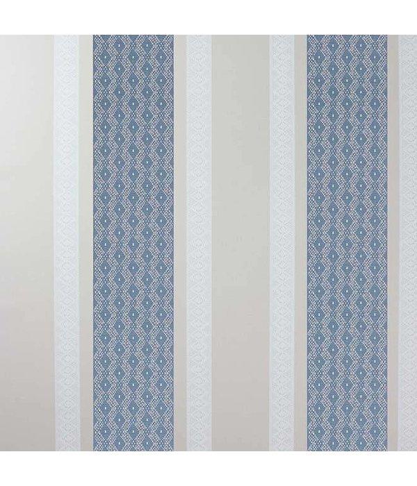 Osborne-Little Chantilly Stripe Sapphire/White/Stone Wallpaper