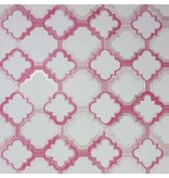 Osborne-Little Quatrefoil Cranberry/Met. Rose Gold Wallpaper