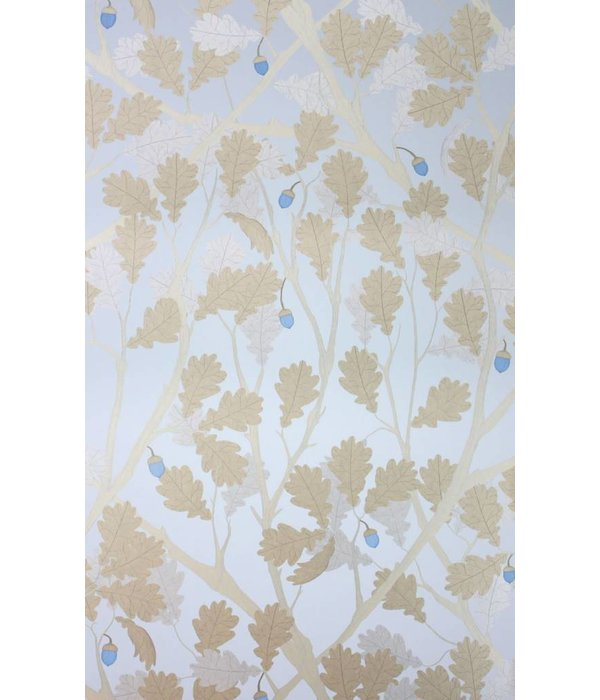 Osborne-Little Feuille de Chene Sapphire Gilver Wallpaper