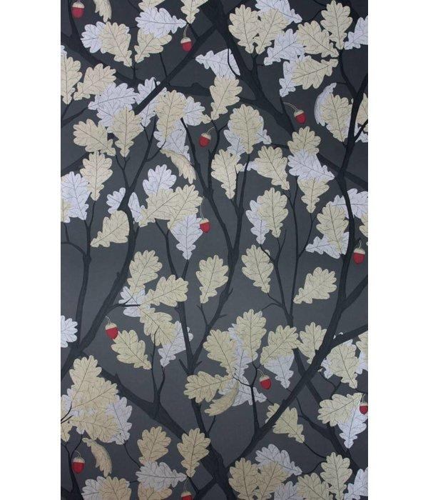 Osborne-Little Feuille de Chene Black Gilver Cherry Wallpaper