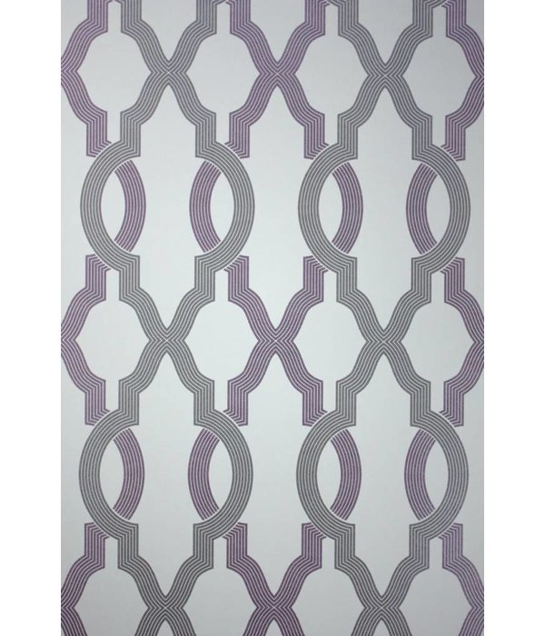 Osborne-Little Cannetille Stone Dove Blackcurrant Wallpaper