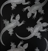 Osborne-Little Komodo Zwart Met Glimmend Zilver W6300-02 Behang