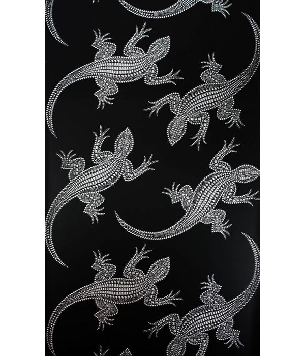 Osborne-Little Komodo Zwart Met Glimmend Zilver Wallpaper