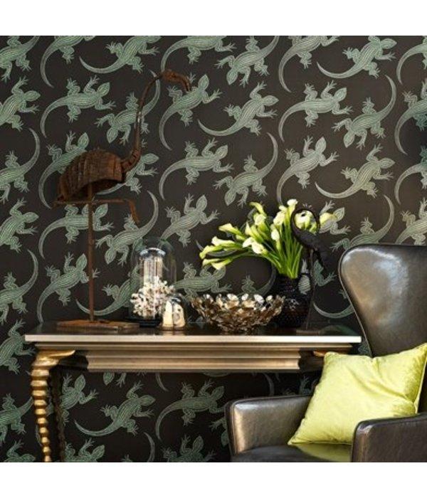 Osborne-Little Komodo Bruin Met Glimmend Zilver Wallpaper
