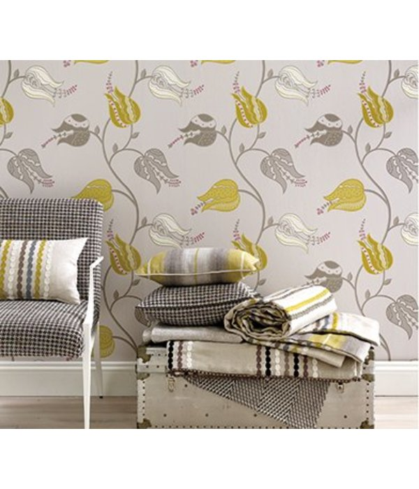Osborne-Little ISFAHAN TULIP Rose Silver Wallpaper