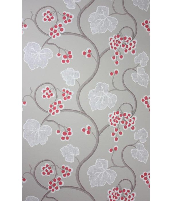 Osborne-Little SHIRAZ Red White Gray Wallpaper