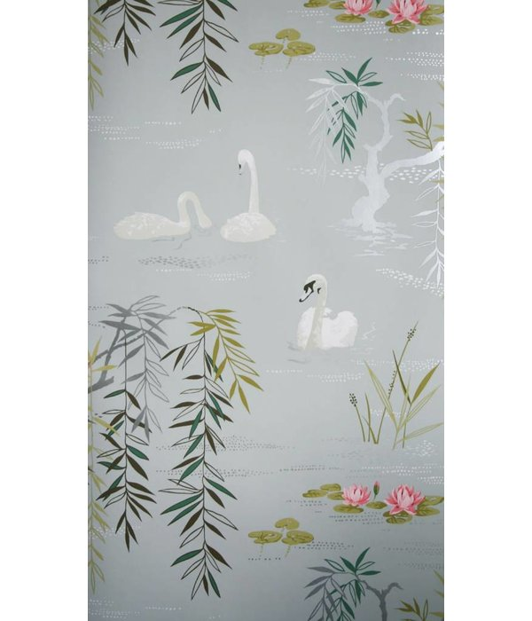 Nina-Campbell Swan Lake Lichtblauw En Zilver Wallpaper